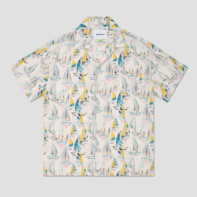 UNISEX SAILING BOAT HAWAIIAN SHIRTS CREAM